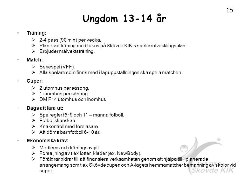 Ungdom 13-14 år Träning:  2-4 pass (90 min) per vecka.  Planerad träning med fokus på Skövde KIK:s spelrarutvecklingsplan.  Erbjuder målvaktstränin