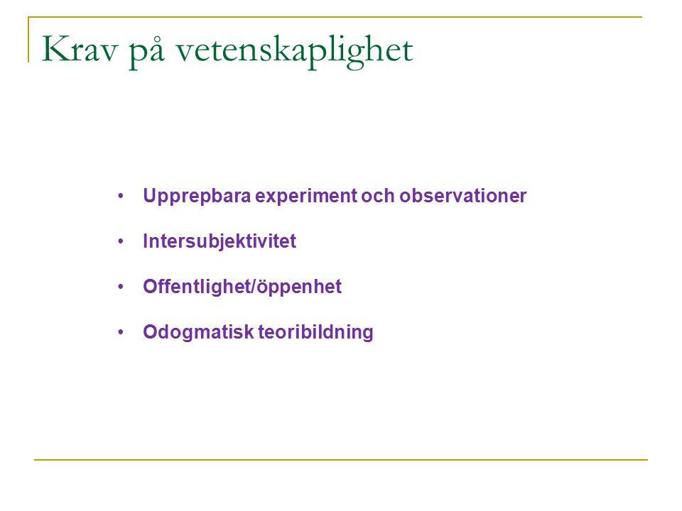 Krav på vetenskaplighet Upprepbara experiment och observationer Intersubjektivitet Offentlighet/öppenhet Odogmatisk teoribildning