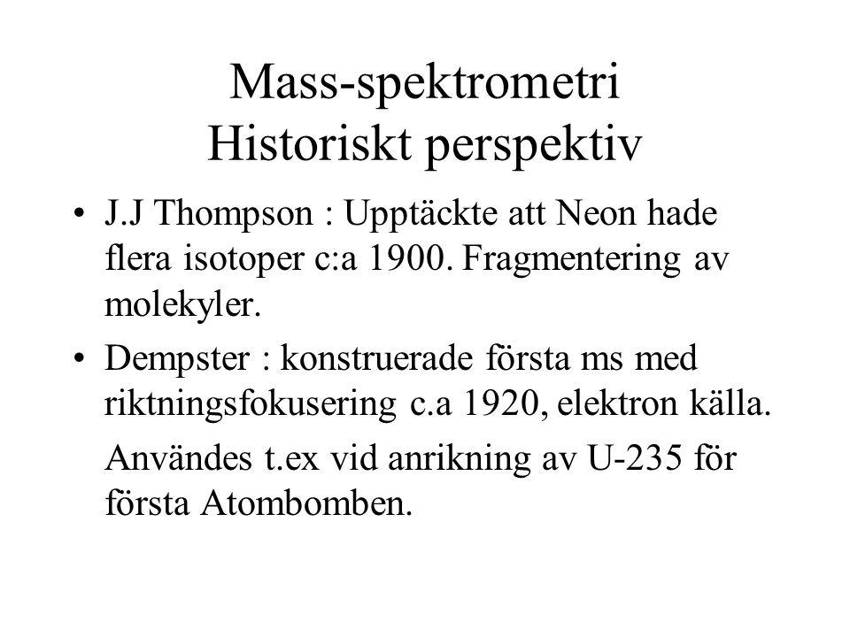 Mass-spektrometri Historiskt perspektiv J.J Thompson : Upptäckte att Neon hade flera isotoper c:a 1900. Fragmentering av molekyler. Dempster : konstru
