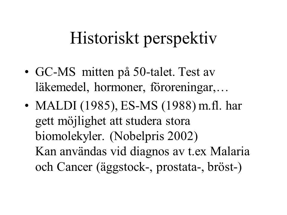 Historiskt perspektiv GC-MSmitten på 50-talet. Test av läkemedel, hormoner, föroreningar,… MALDI (1985), ES-MS (1988) m.fl. har gett möjlighet att stu
