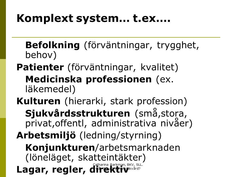 Catharina Barkman, BKV, SLL. Går det att styra sjukvård? Komplext system… t.ex…. Befolkning (förväntningar, trygghet, behov) Patienter (förväntningar,
