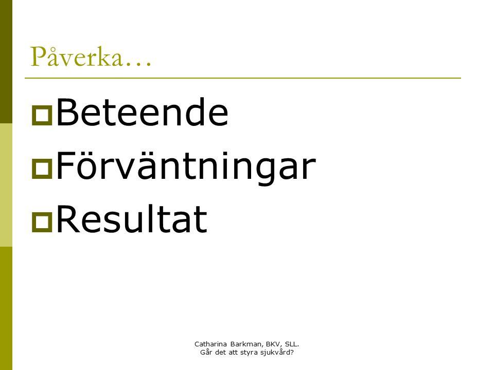 Catharina Barkman, BKV, SLL. Går det att styra sjukvård? Påverka…  Beteende  Förväntningar  Resultat