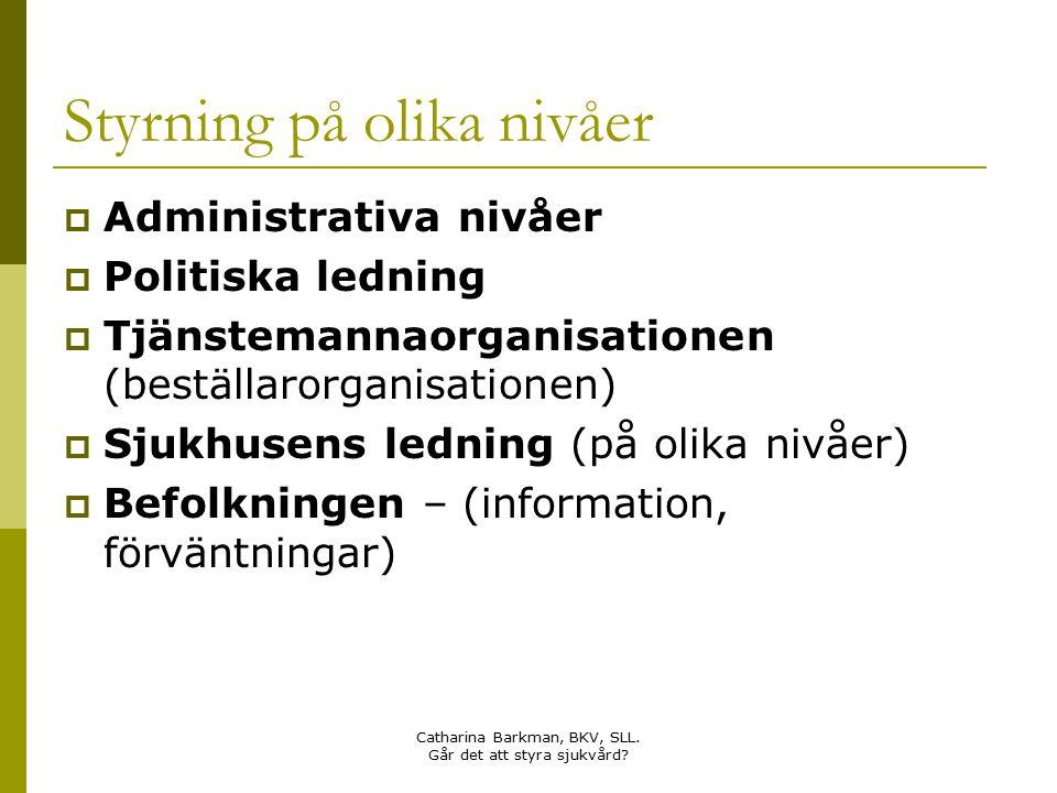 Catharina Barkman, BKV, SLL. Går det att styra sjukvård? Styrning på olika nivåer  Administrativa nivåer  Politiska ledning  Tjänstemannaorganisati