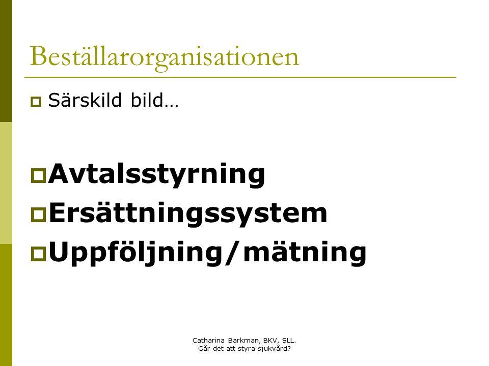 Catharina Barkman, BKV, SLL. Går det att styra sjukvård? Beställarorganisationen  Särskild bild…  Avtalsstyrning  Ersättningssystem  Uppföljning/m