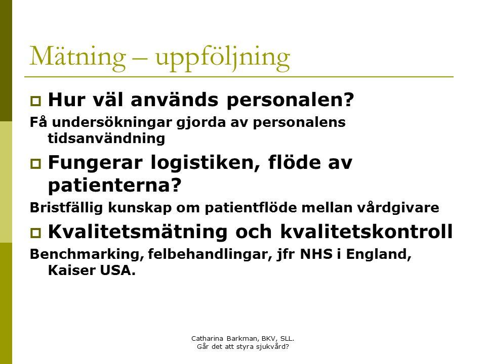 Catharina Barkman, BKV, SLL. Går det att styra sjukvård? Mätning – uppföljning  Hur väl används personalen? Få undersökningar gjorda av personalens t