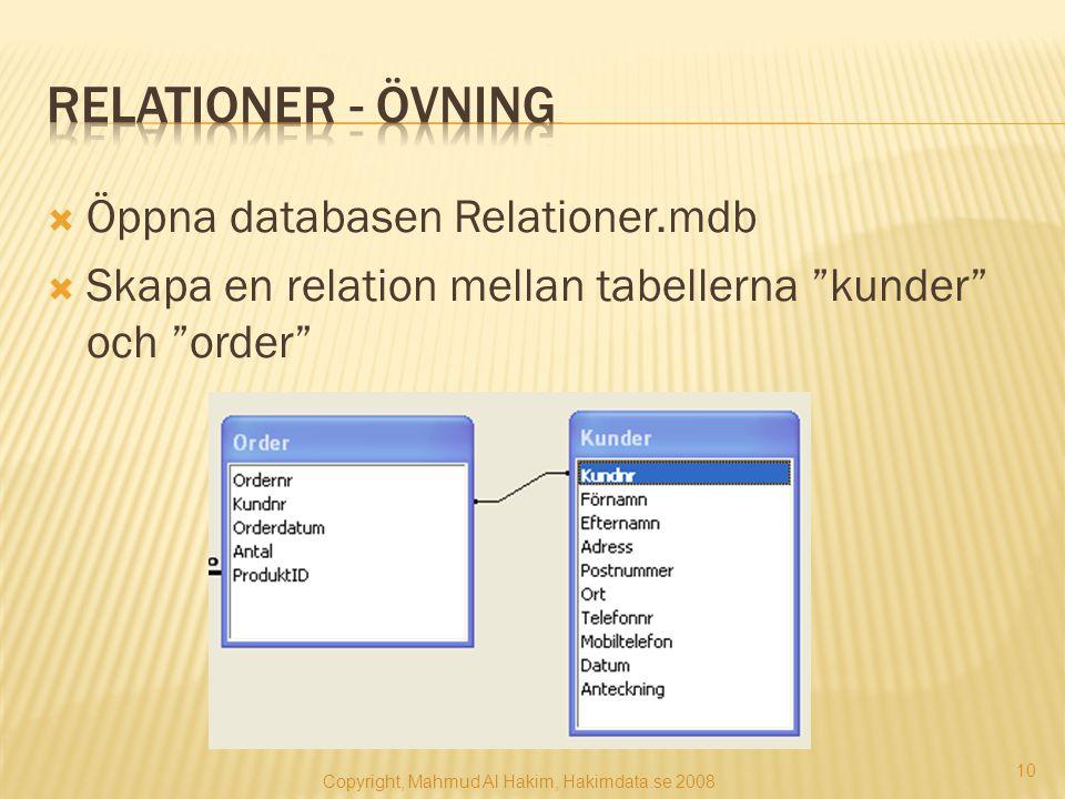 """ Öppna databasen Relationer.mdb  Skapa en relation mellan tabellerna """"kunder"""" och """"order"""" Copyright, Mahmud Al Hakim, Hakimdata.se 2008 10"""