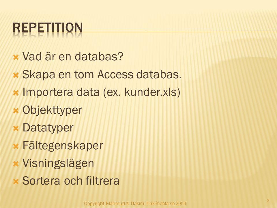  Vad är en databas?  Skapa en tom Access databas.  Importera data (ex. kunder.xls)  Objekttyper  Datatyper  Fältegenskaper  Visningslägen  Sor