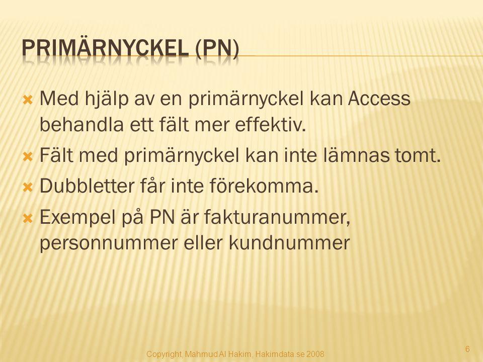  Med hjälp av en primärnyckel kan Access behandla ett fält mer effektiv.  Fält med primärnyckel kan inte lämnas tomt.  Dubbletter får inte förekomm