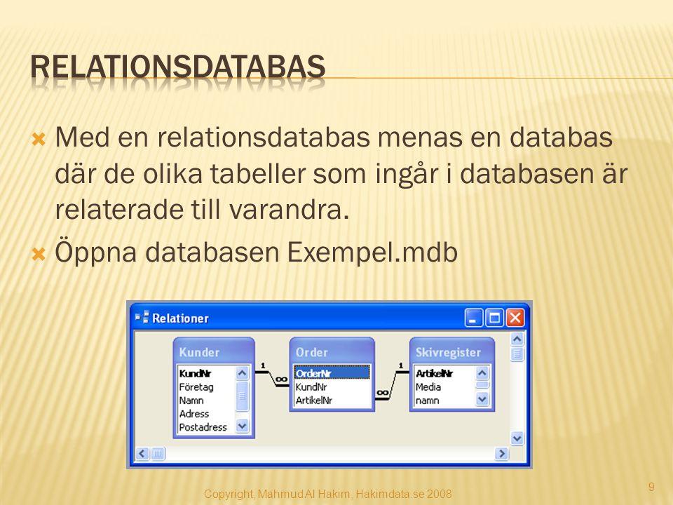 Med en relationsdatabas menas en databas där de olika tabeller som ingår i databasen är relaterade till varandra.  Öppna databasen Exempel.mdb 9 Co