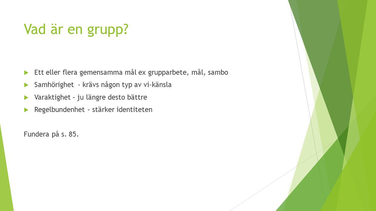 Vad är en grupp?  Ett eller flera gemensamma mål ex grupparbete, mål, sambo  Samhörighet - krävs någon typ av vi-känsla  Varaktighet – ju längre de