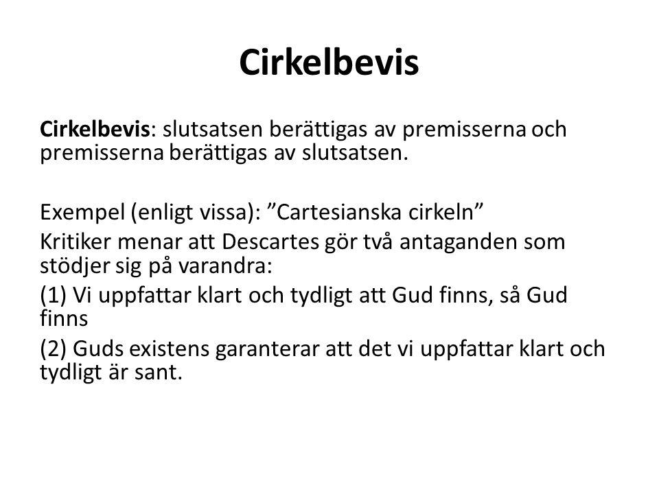 """Cirkelbevis Cirkelbevis: slutsatsen berättigas av premisserna och premisserna berättigas av slutsatsen. Exempel (enligt vissa): """"Cartesianska cirkeln"""""""