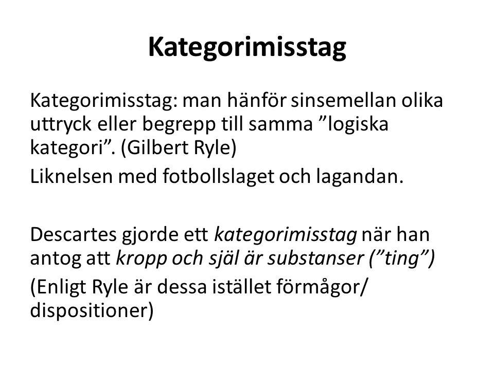"""Kategorimisstag Kategorimisstag: man hänför sinsemellan olika uttryck eller begrepp till samma """"logiska kategori"""". (Gilbert Ryle) Liknelsen med fotbol"""