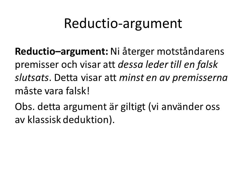 Reductio-argument Reductio–argument: Ni återger motståndarens premisser och visar att dessa leder till en falsk slutsats. Detta visar att minst en av