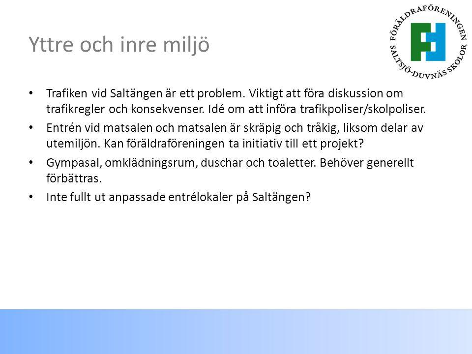 Yttre och inre miljö Trafiken vid Saltängen är ett problem.