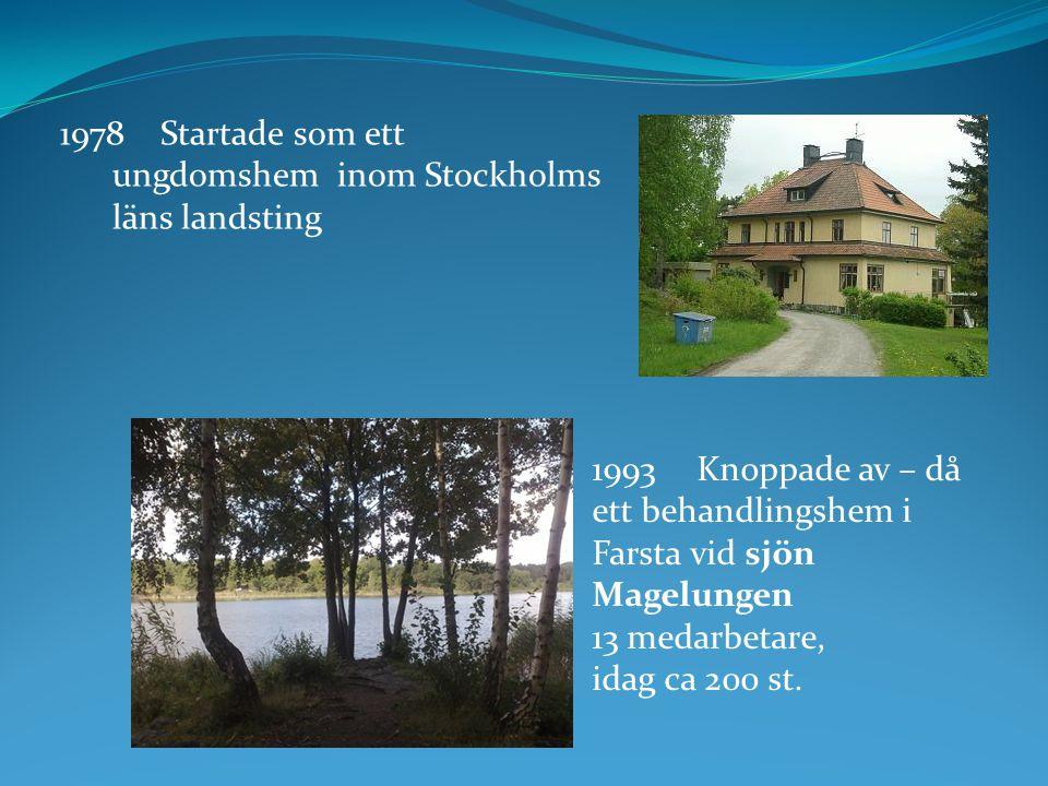1978 Startade som ett ungdomshem inom Stockholms läns landsting 1993 Knoppade av – då ett behandlingshem i Farsta vid sjön Magelungen 13 medarbetare,