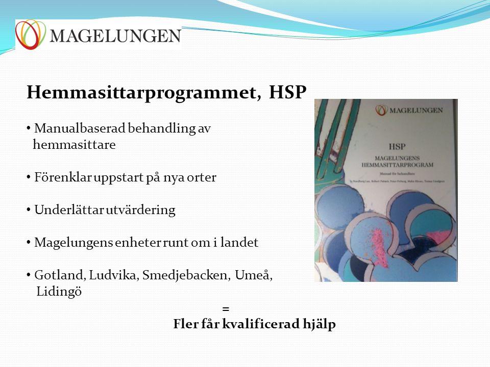 Hemmasittarprogrammet, HSP Manualbaserad behandling av hemmasittare Förenklar uppstart på nya orter Underlättar utvärdering Magelungens enheter runt o
