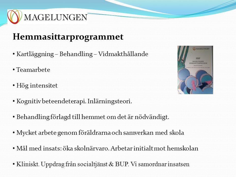 Hemmasittarprogrammet Kartläggning – Behandling – Vidmakthållande Teamarbete Hög intensitet Kognitiv beteendeterapi. Inlärningsteori. Behandling förla