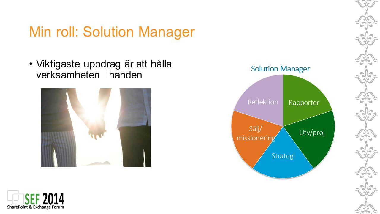 Min roll: Solution Manager Viktigaste uppdrag är att hålla verksamheten i handen