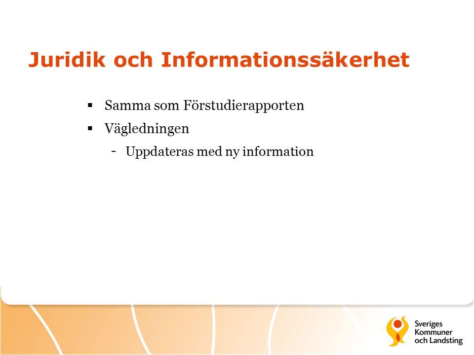 Juridik och Informationssäkerhet  Samma som Förstudierapporten  Vägledningen - Uppdateras med ny information