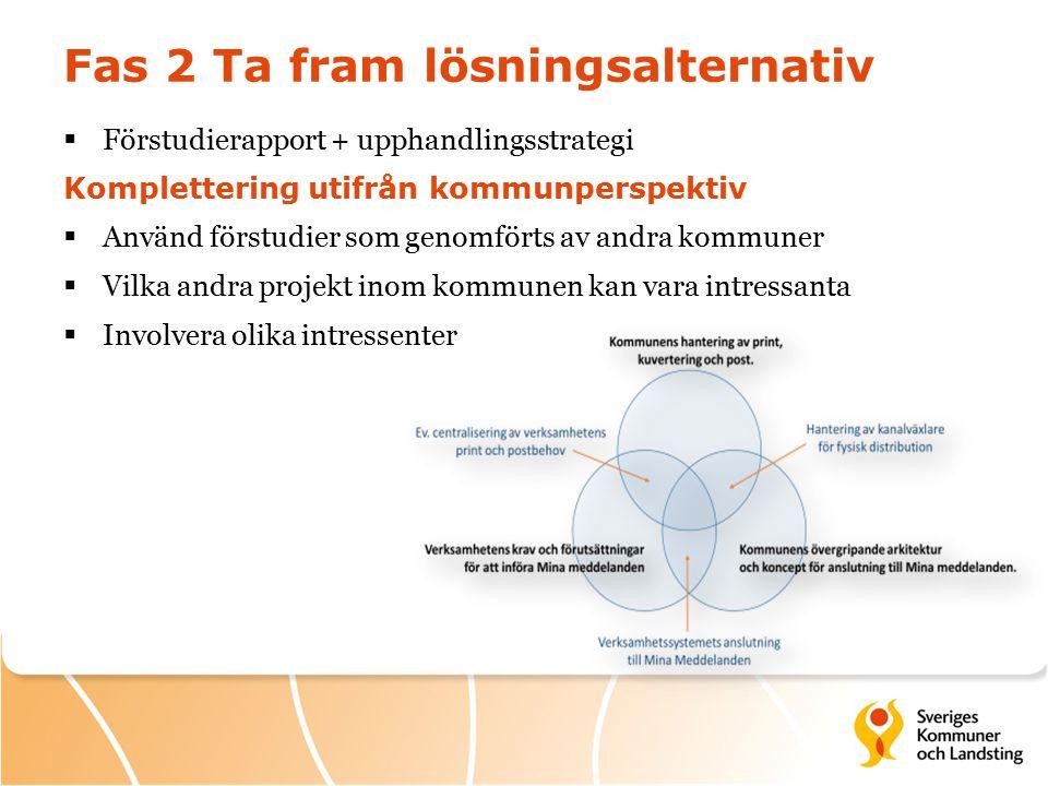 Fas 2 Ta fram lösningsalternativ  Förstudierapport + upphandlingsstrategi Komplettering utifrån kommunperspektiv  Använd förstudier som genomförts av andra kommuner  Vilka andra projekt inom kommunen kan vara intressanta  Involvera olika intressenter