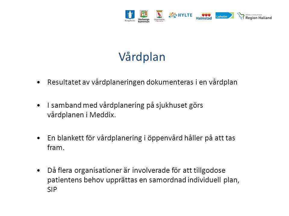 Vårdplan Resultatet av vårdplaneringen dokumenteras i en vårdplan I samband med vårdplanering på sjukhuset görs vårdplanen i Meddix. En blankett för v