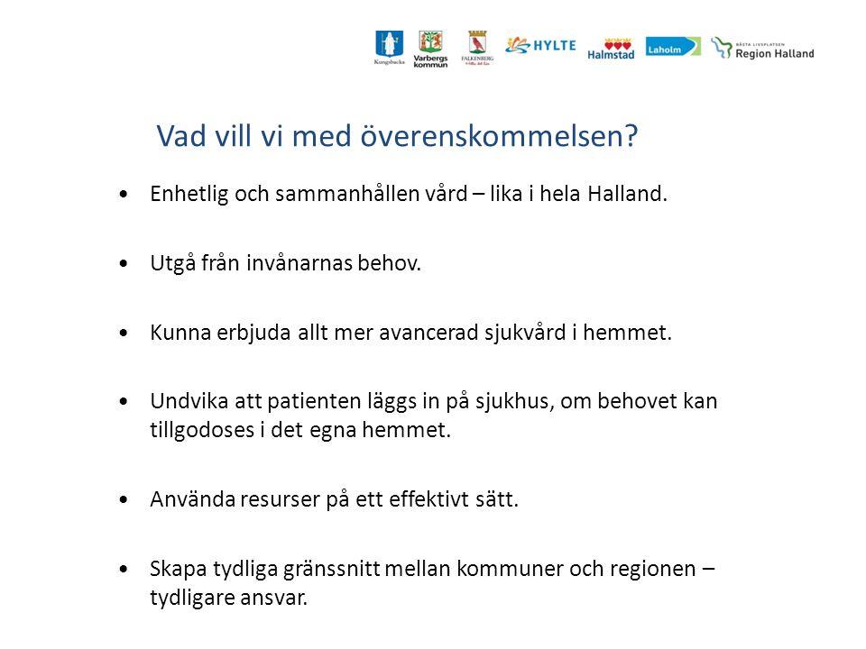 Vad vill vi med överenskommelsen? Enhetlig och sammanhållen vård – lika i hela Halland. Utgå från invånarnas behov. Kunna erbjuda allt mer avancerad s
