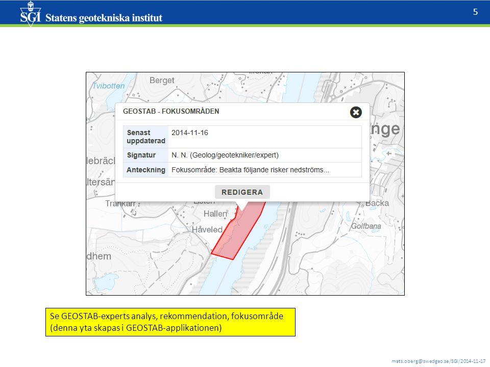 mats.oberg@swedgeo.se/SGI/2014-11-17 6 GEOSTAB applikation konceptuell: Så här kommer den inte att se ut i OpenLayers3 Detta är en bruttolista med olika relevanta (och fullt funktionella) WMS-er Fokusområde blir redigerbart