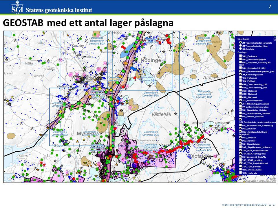 mats.oberg@swedgeo.se/SGI/2014-11-17 8 Bruttolistan kommer att ha KLARTEXTNAMN, gruppering, teckenförklaring mm Några helt öppna lager (=finns på geodata.se): SGU: jordarter, raviner, skredärr, jordlagerföljd, brunnar, mm SGI: geotekniska undersökningsområden, BGA borrhål, Max_sensit, skreddatabas, stabilitetsberäkningar GÄU mm NV: Vattenskyddsområden LM: fastighetsgränser TrV: Borrhål (ej publik än); SthlmStad: borrhål LST: Miljöfarlig verksamhet, Förorenade områden MSB: Tre stabilitetszoner, översiktlig översvämningskartering