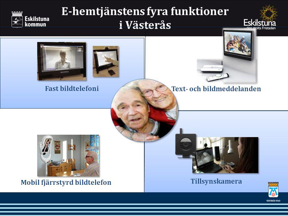 E-hemtjänstens fyra funktioner i Västerås Fast bildtelefoni Mobil fjärrstyrd bildtelefon Text- och bildmeddelanden Tillsynskamera