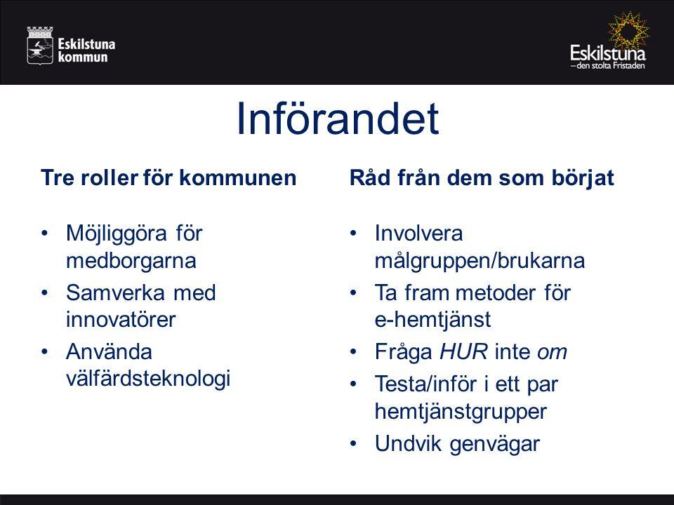 Införandet Tre roller för kommunen Möjliggöra för medborgarna Samverka med innovatörer Använda välfärdsteknologi Råd från dem som börjat Involvera mål