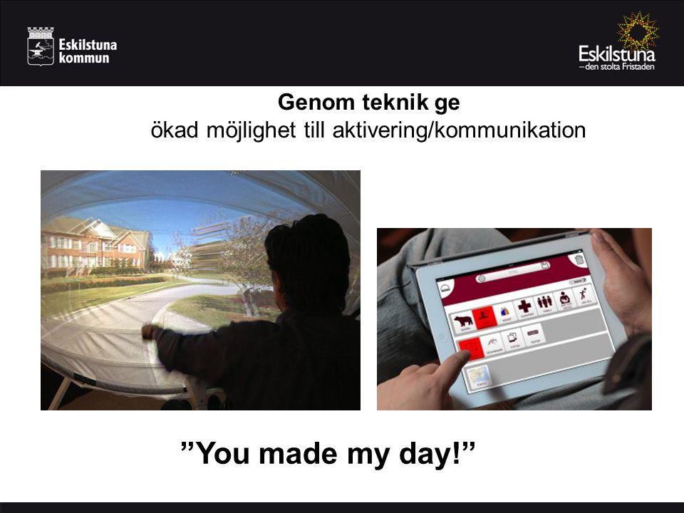 """Genom teknik ge ökad möjlighet till aktivering/kommunikation """"You made my day!"""""""