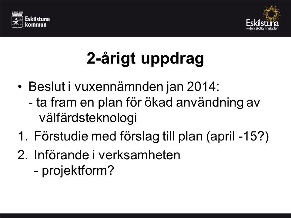 2-årigt uppdrag Beslut i vuxennämnden jan 2014: - ta fram en plan för ökad användning av välfärdsteknologi 1.Förstudie med förslag till plan (april -15?) 2.Införande i verksamheten - projektform?