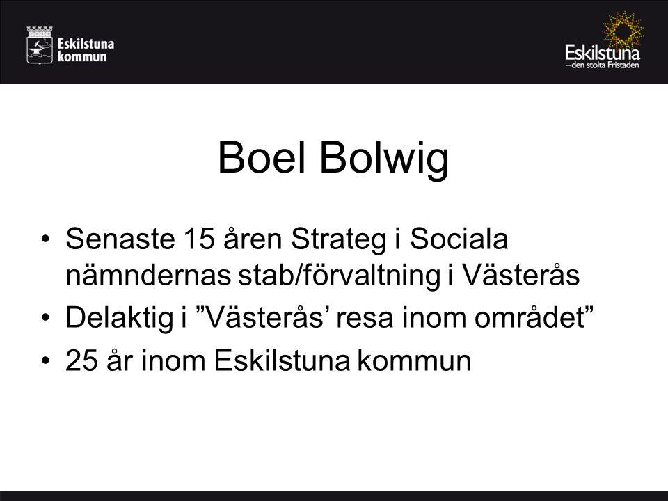 Boel Bolwig Senaste 15 åren Strateg i Sociala nämndernas stab/förvaltning i Västerås Delaktig i Västerås' resa inom området 25 år inom Eskilstuna kommun