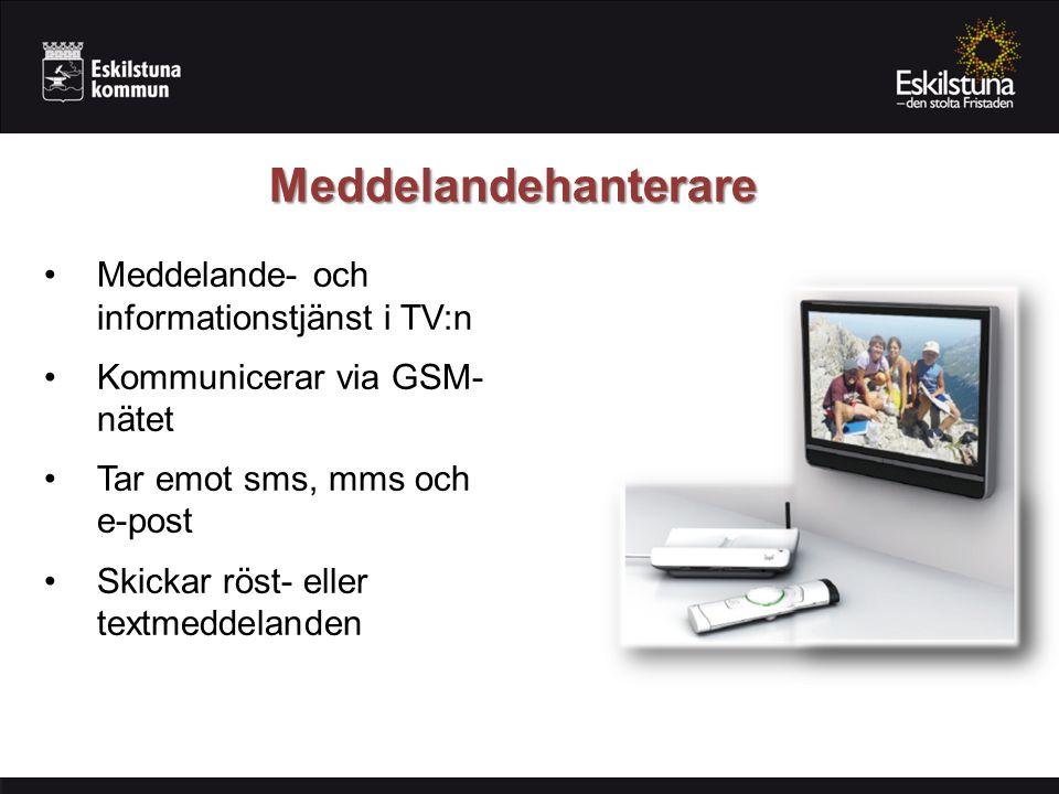 Meddelandehanterare Meddelande- och informationstjänst i TV:n Kommunicerar via GSM- nätet Tar emot sms, mms och e-post Skickar röst- eller textmeddela