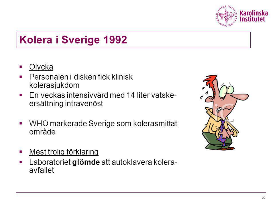 21 Kolera i Sverige 1992  Genetisk forskningsinstitution  Icke patogen E. coli  Kolerabakterier  Regler vid olyckan  Provrör och flytande avfall