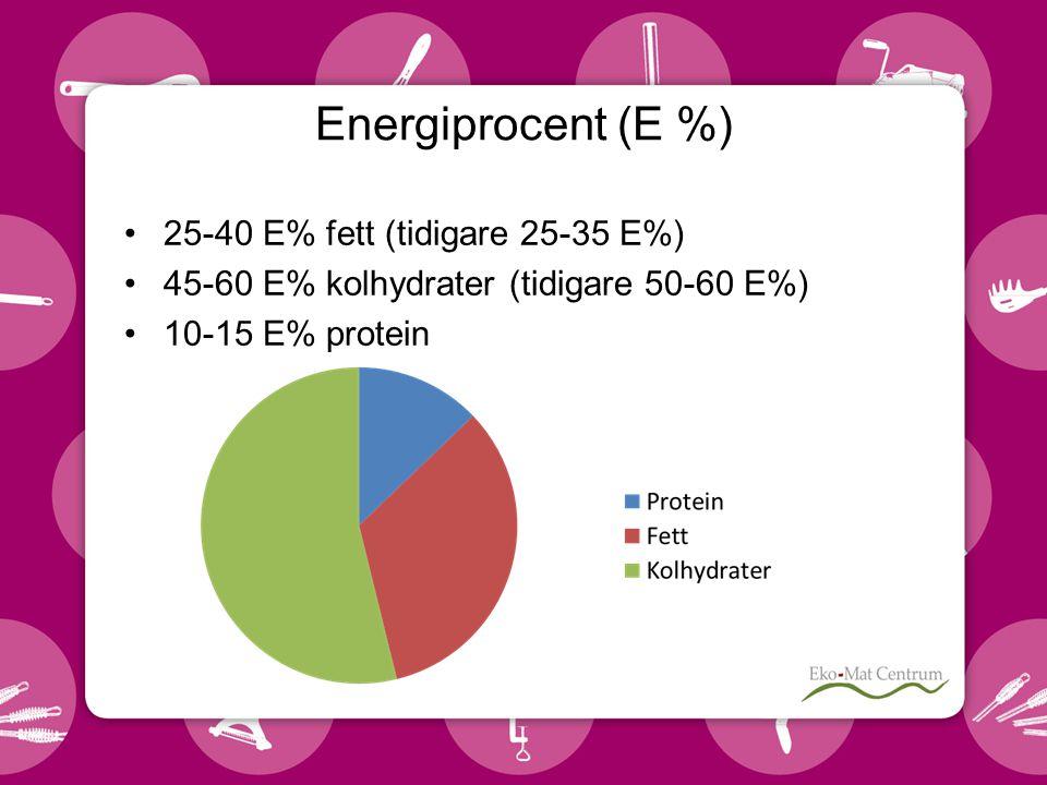 25-40 E% fett (tidigare 25-35 E%) 45-60 E% kolhydrater (tidigare 50-60 E%) 10-15 E% protein Energiprocent (E %)