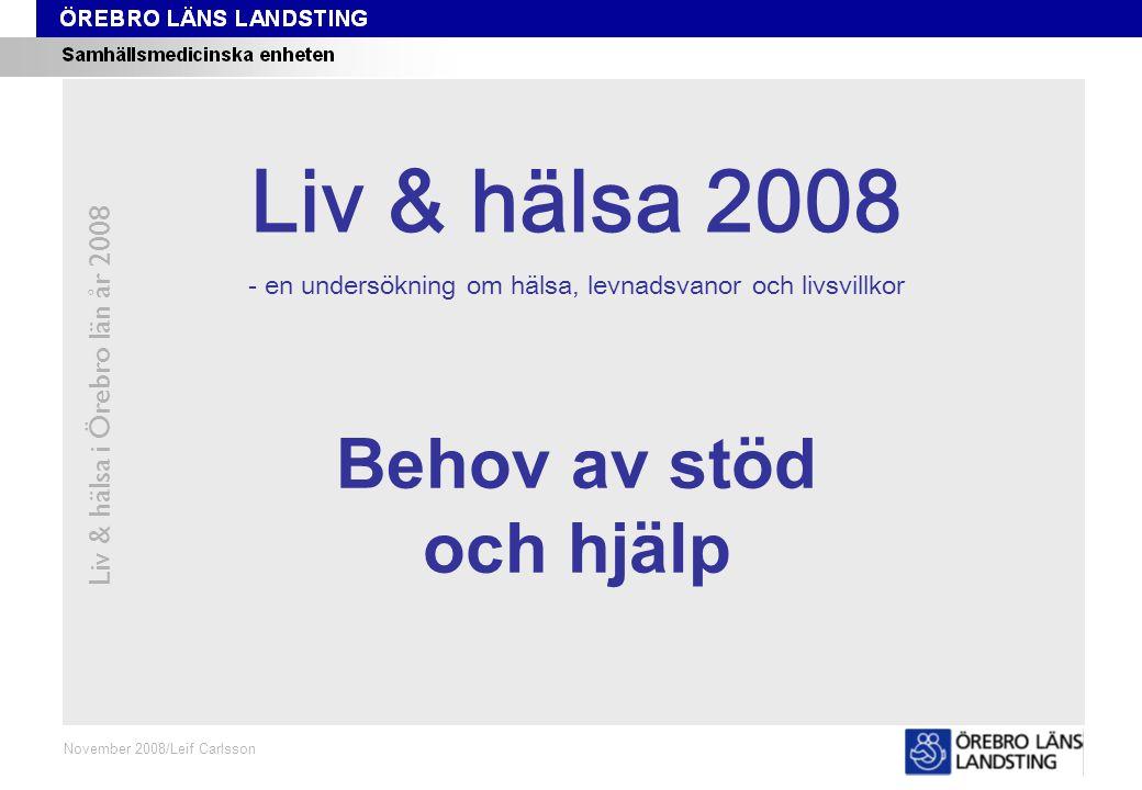 Fråga 75, kön och område Liv & hälsa i Örebro län år 2008 Fråga 75 Oktober 2008/Leif Carlsson ProcentKvinnor 18-84 årMän 18-84 år Andel som på grund av nedsatt funktionsförmåga eller sjukdom behöver hjälp med att inhandla mat och som får hjälp av anhörig, vän, vårdpersonal, hemtjänstpersonal eller annan person