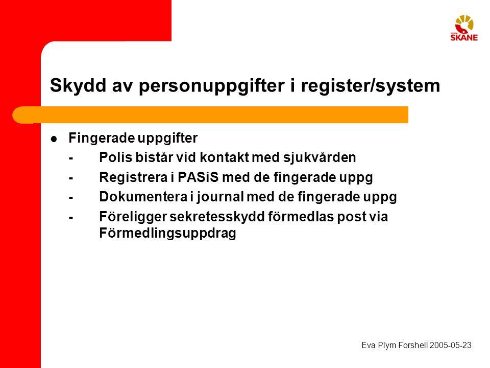 Skydd av personuppgifter i register/system Fingerade uppgifter - Polis bistår vid kontakt med sjukvården -Registrera i PASiS med de fingerade uppg -Do