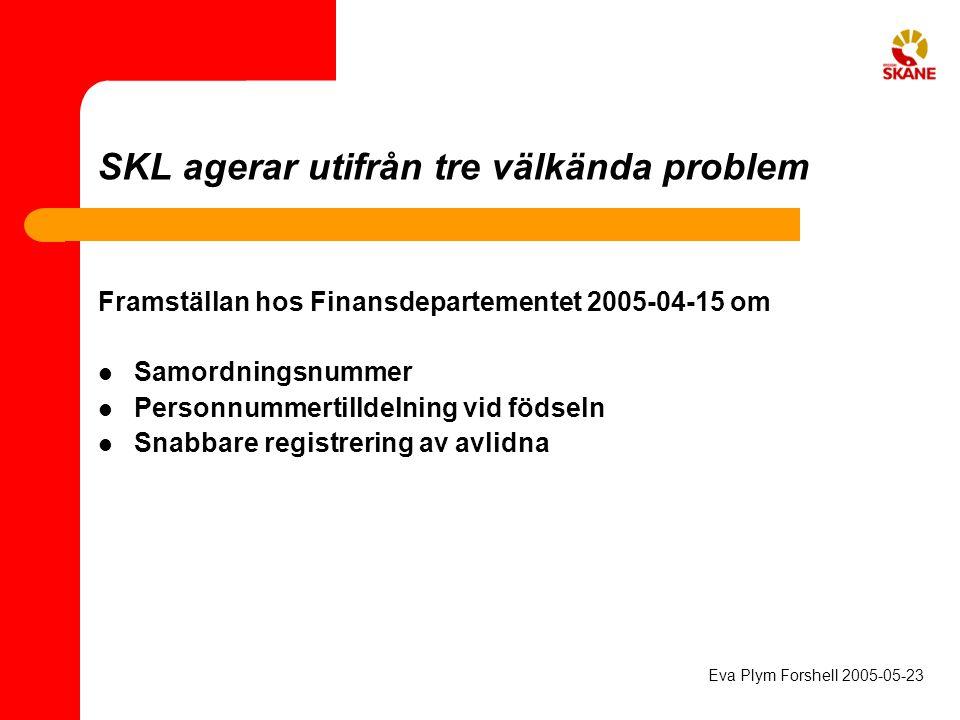 SKL agerar utifrån tre välkända problem Framställan hos Finansdepartementet 2005-04-15 om Samordningsnummer Personnummertilldelning vid födseln Snabba