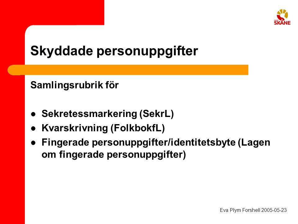 Skyddade personuppgifter Samlingsrubrik för Sekretessmarkering (SekrL) Kvarskrivning (FolkbokfL) Fingerade personuppgifter/identitetsbyte (Lagen om fi
