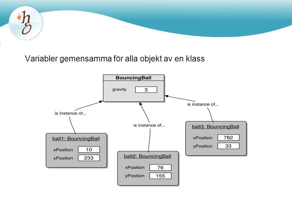 Variabler gemensamma för alla objekt av en klass