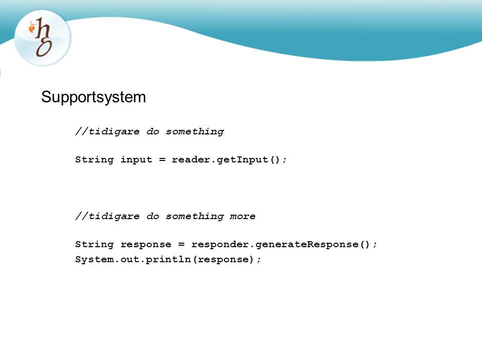 Supportsystem //tidigare do something String input = reader.getInput(); //tidigare do something more String response = responder.generateResponse(); S