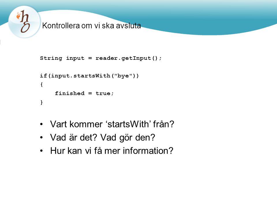 Läsa Java-dokumentation Dokumentation av Java-biblioteken finns i HTML-format; Kan läsas i webbläsare API: Application Programmers' Interface Beskrivning av alla klassers interface (gränssnitt, dvs det som är synligt utåt)