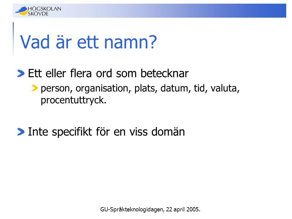 GU-Språkteknologidagen, 22 april 2005. Vad är ett namn.