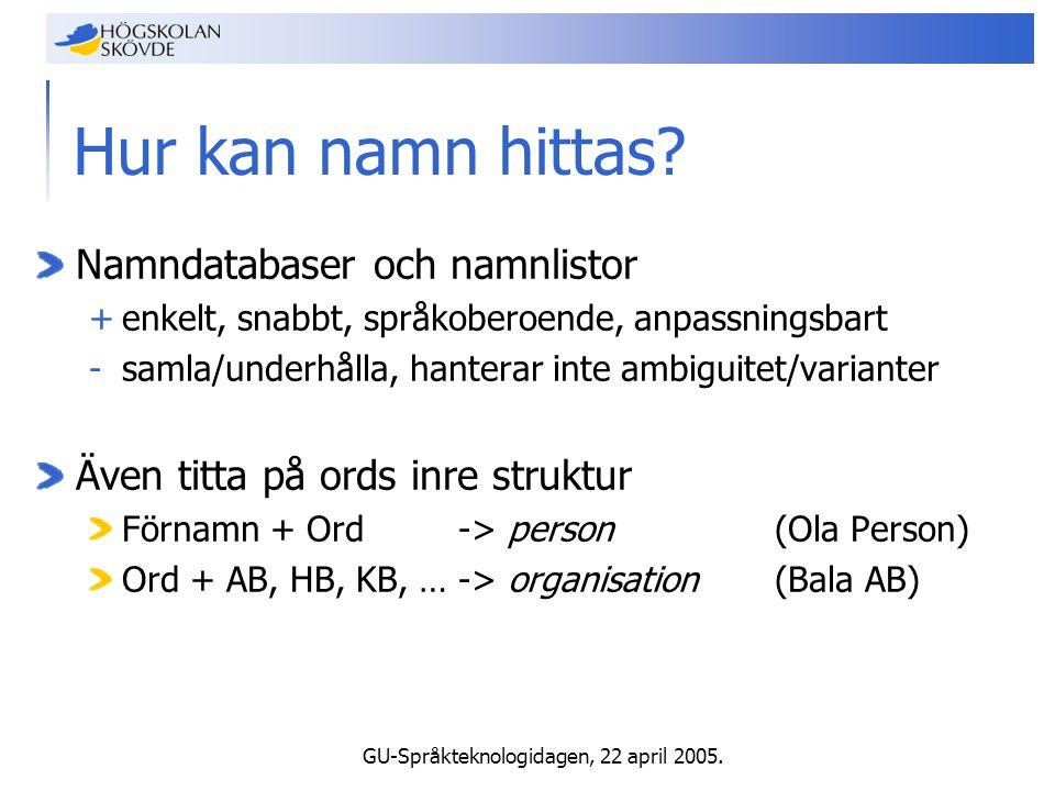 GU-Språkteknologidagen, 22 april 2005. Hur kan namn hittas.