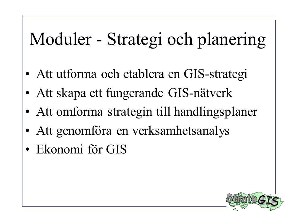 Moduler - Strategi och planering Att utforma och etablera en GIS-strategi Att skapa ett fungerande GIS-nätverk Att omforma strategin till handlingsplaner Att genomföra en verksamhetsanalys Ekonomi för GIS