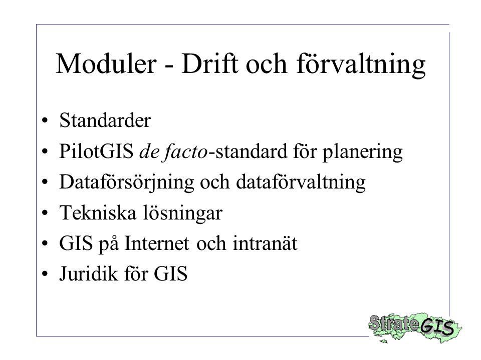 Moduler - Drift och förvaltning Standarder PilotGIS de facto-standard för planering Dataförsörjning och dataförvaltning Tekniska lösningar GIS på Internet och intranät Juridik för GIS