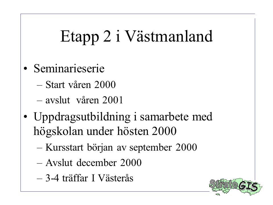 Etapp 2 i Västmanland Seminarieserie –Start våren 2000 –avslut våren 2001 Uppdragsutbildning i samarbete med högskolan under hösten 2000 –Kursstart början av september 2000 –Avslut december 2000 –3-4 träffar I Västerås