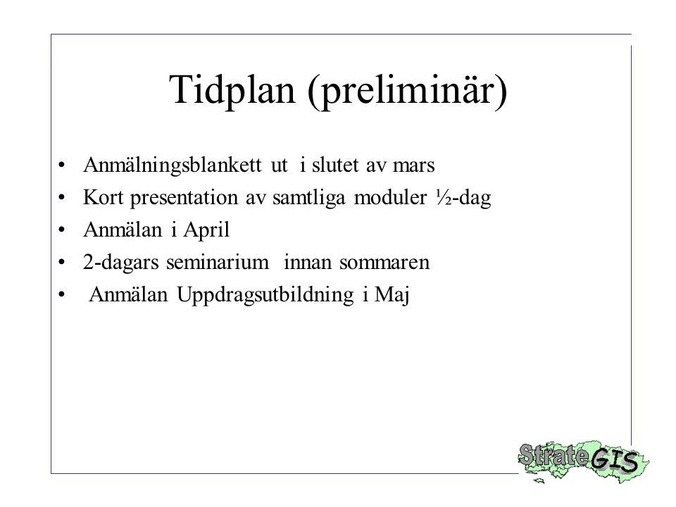 Tidplan (preliminär) Anmälningsblankett ut i slutet av mars Kort presentation av samtliga moduler ½-dag Anmälan i April 2-dagars seminarium innan sommaren Anmälan Uppdragsutbildning i Maj