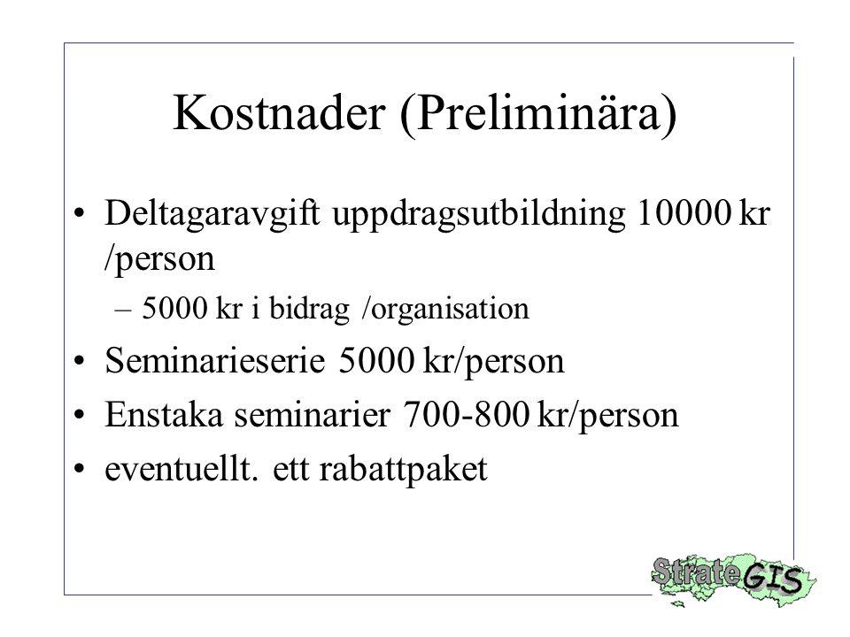Kostnader (Preliminära) Deltagaravgift uppdragsutbildning 10000 kr /person –5000 kr i bidrag /organisation Seminarieserie 5000 kr/person Enstaka seminarier 700-800 kr/person eventuellt.